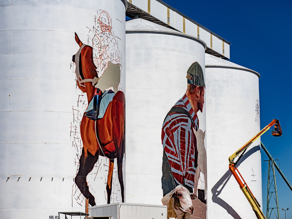 Progress on the Pingrup Silo mural by Evcoca1